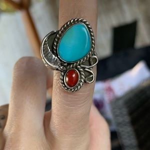 Vintage Native Turquoise Coral & Silver Ring